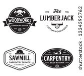 Woodwork badges. Set of carpentry, woodworkers, lumberjack, sawmill service monochrome vector labels, emblems and logos. Isolated vector illustration.
