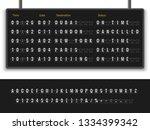 airport board. font alphabet... | Shutterstock .eps vector #1334399342