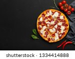 tasty pepperoni pizza and... | Shutterstock . vector #1334414888