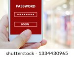 hand holding smart phone with... | Shutterstock . vector #1334430965