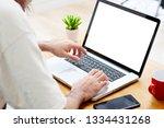 man hands using laptop computer ... | Shutterstock . vector #1334431268