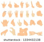 various gestures of human hands ... | Shutterstock .eps vector #1334432138