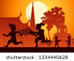 Childrean throw water each other in Song kran day famous festival of Thailand Loas Myanmar and Cambodia,new year,silhouette design,vector illustration