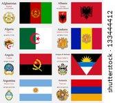 world flags of afghanistan ... | Shutterstock .eps vector #133444412