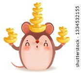little rat with holding chinese ... | Shutterstock .eps vector #1334532155