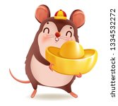 little rat with holding chinese ... | Shutterstock .eps vector #1334532272