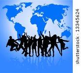 happy people dancing in front... | Shutterstock .eps vector #13345624