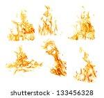 set of orange flames isolated...   Shutterstock . vector #133456328