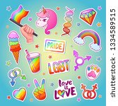 lgbt bright sticker set with... | Shutterstock .eps vector #1334589515