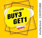 buy 3 get 1 free sale banner... | Shutterstock .eps vector #1334591888