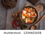 vegetable soup with cauliflower ... | Shutterstock . vector #1334602658
