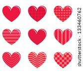 9 decorative hearts with... | Shutterstock . vector #133460762