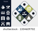 train icon set. 13 filled train ... | Shutterstock .eps vector #1334609702