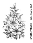 hand drawn floral bouquet with...   Shutterstock . vector #1334629565