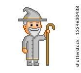 vector 8 bit pixel wizard and... | Shutterstock .eps vector #1334630438