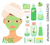 beauty treatments with organic... | Shutterstock .eps vector #1334632292
