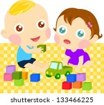 two children playing with toys | Shutterstock .eps vector #133466225