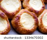 open buns with cottage cheese ... | Shutterstock . vector #1334670302