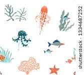 marine life hand drawn flat... | Shutterstock .eps vector #1334687252