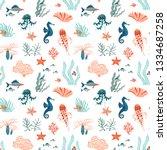 marine life hand drawn flat...   Shutterstock .eps vector #1334687258