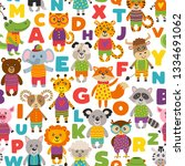 seamless pattern with cute... | Shutterstock .eps vector #1334691062