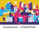minimal cityscape. flat town... | Shutterstock .eps vector #1334695565