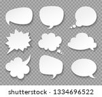 thought balloons. paper white... | Shutterstock .eps vector #1334696522