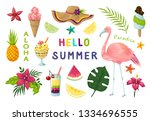 exotic stickers. cute summer... | Shutterstock .eps vector #1334696555