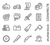 wooden icon set. contains such... | Shutterstock .eps vector #1334698178