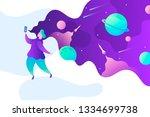 human and technology. world... | Shutterstock .eps vector #1334699738