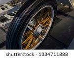 Vintage Wooden Spoke Car Wheel. ...