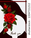 beautiful bouquet with red... | Shutterstock .eps vector #1334721212