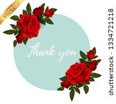 beautiful bouquet with red... | Shutterstock .eps vector #1334721218