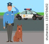 policeman with dog and car in...   Shutterstock .eps vector #1334734652