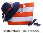 orange stripe beach bag  hat...   Shutterstock . vector #1334735822