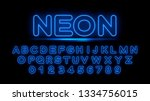 neon blue capital letters and... | Shutterstock .eps vector #1334756015