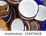 closeup of coconut drying | Shutterstock . vector #133475618