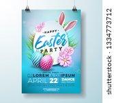 vector easter party flyer...   Shutterstock .eps vector #1334773712