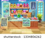 Stock vector background bakery shop interior cute sweets shop showcase in cartoon style with cupcakes pie 1334806262