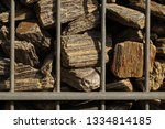 gabion. close up on a steel ... | Shutterstock . vector #1334814185