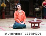 thai woman in a traditional... | Shutterstock . vector #133484306