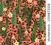 seamless pattern exotic floral... | Shutterstock .eps vector #1334872328