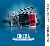 cinema poster with cola  film... | Shutterstock .eps vector #1334874668