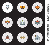 happy icons colored line set... | Shutterstock .eps vector #1334880098