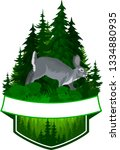 vector hunting woodland emblem... | Shutterstock .eps vector #1334880935