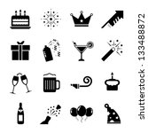 celebration icon set black and... | Shutterstock .eps vector #133488872