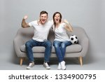 cheerful couple woman man... | Shutterstock . vector #1334900795