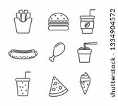 set of fast food icon with... | Shutterstock .eps vector #1334904572