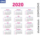 english calendar 2020 ... | Shutterstock .eps vector #1334910545