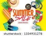 decorative summer poster on... | Shutterstock .eps vector #1334931278